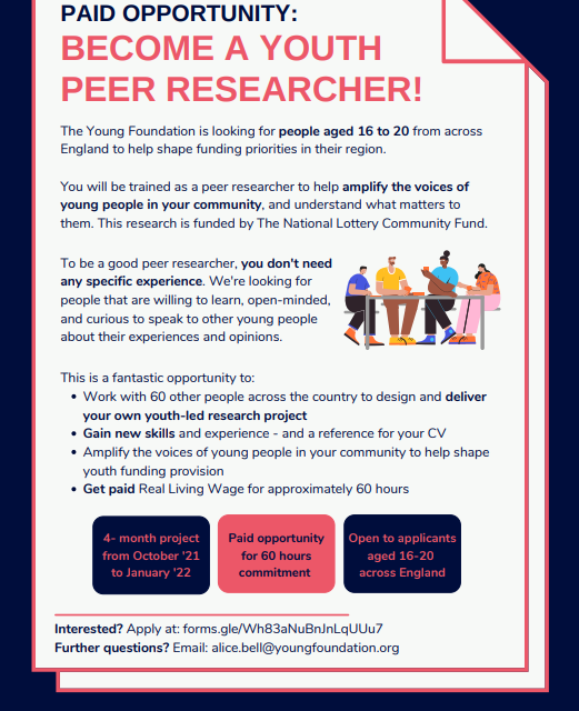Regional Youth Led Peer Research – Applications for Young Researchers open